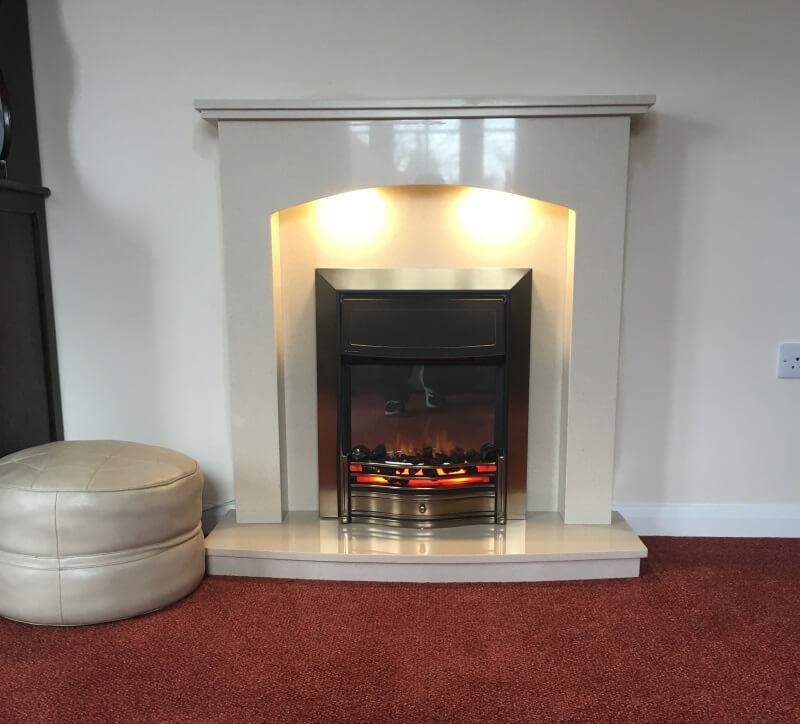 "New Installation 40"" Appleby marble fireplace Dimplex antique brass Danesbury fire"